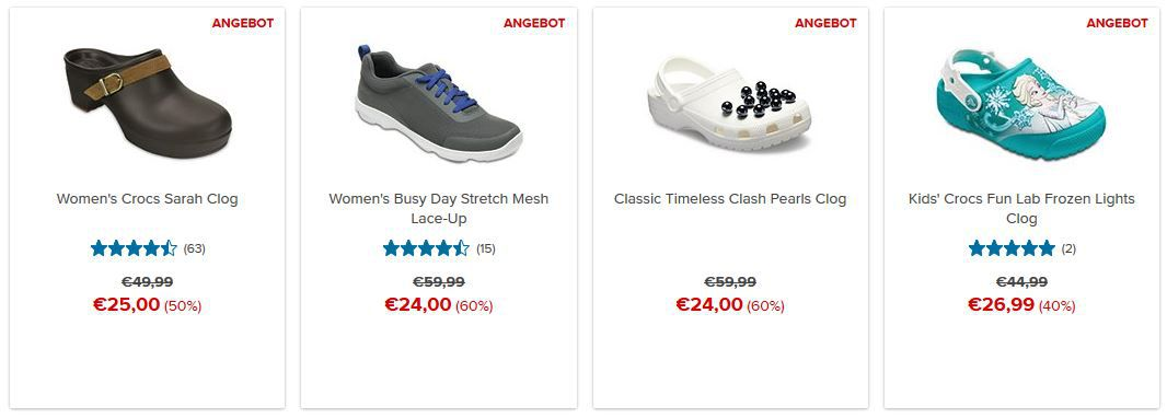 Crocs Sale mit bis 50% Rabatt auf ausgewählte Artikel + VSK frei +10% extra Rabatt