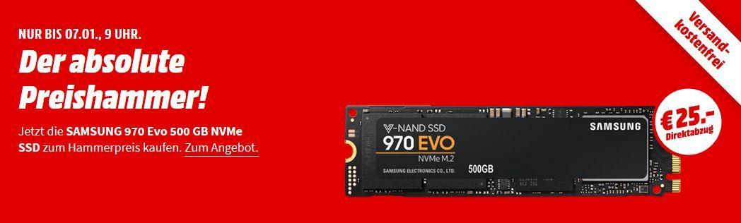 SAMSUNG NVMe SSD 970 Evo mit 500GB für 100€ (statt 117€)