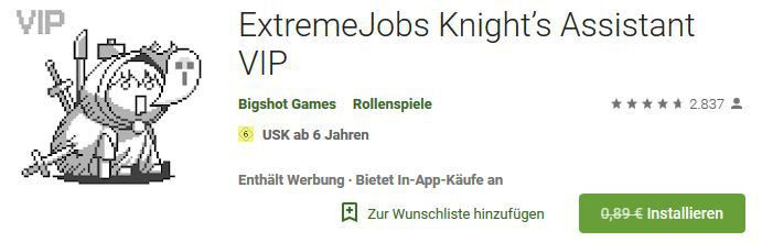 ExtremeJobs Knight's Assistant VIP (Android) gratis statt 0,89€