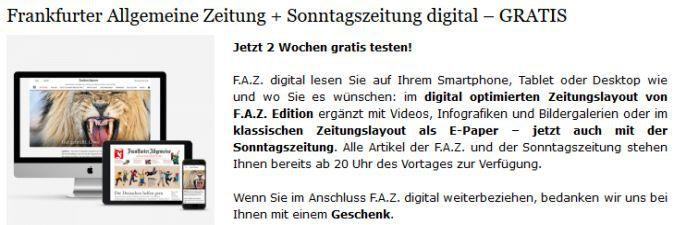 2 Wochen FAZ + Sonntagszeitung (digital) gratis – Kündigung notwendig