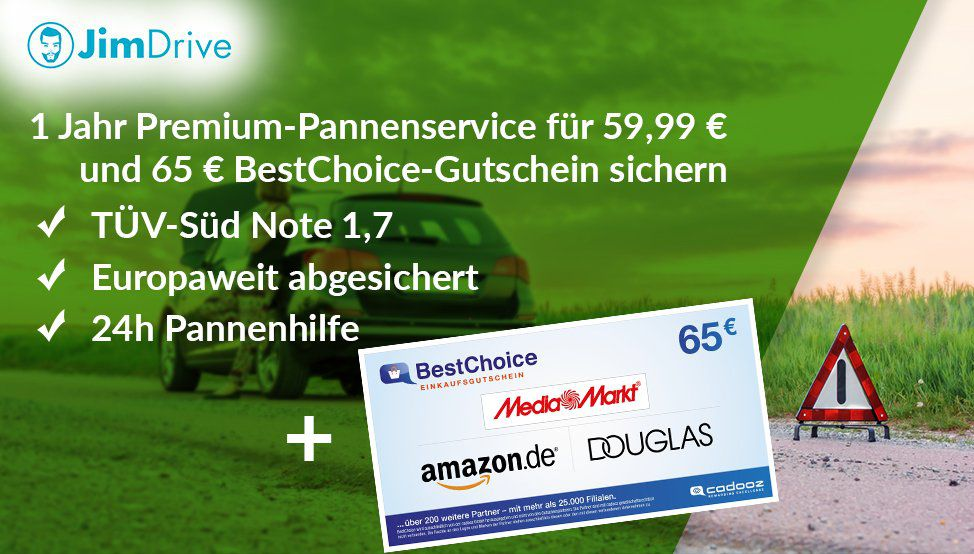1 Jahr JimDrive Pannenhilfe (europaweit) für 59,99€ + 65€ Wertgutschein (eff. mit Gewinn)
