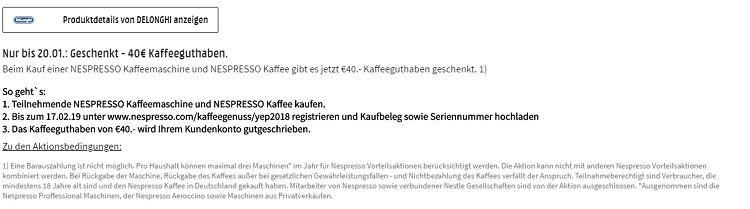 DELONGHI Nespresso Vertuo ENV135.B Kapselmaschine für 105,99€ (statt 146€) + 40€ Kaffeeguthaben