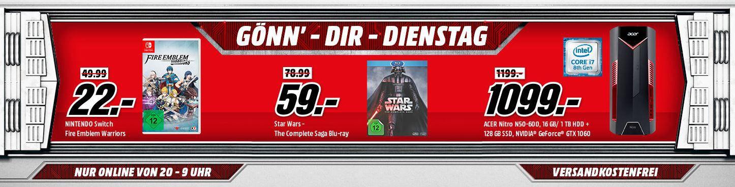 Star Wars – The Complete Saga I VI [Blu ray] für 59€ uvm. im Media Markt Dienstag Sale