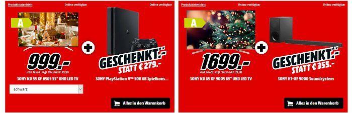 ? Knaller! bis Mitternacht MediaMarkt: Weihnachts GRATIS Geschenk Aktion z.B. Playstation 4 Slim 500GB geschenkt zum Fernseher