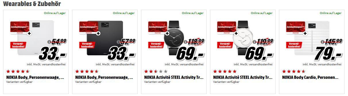 Bis 9 Uhr: Media Markt NOKIA Tiefpreisspätschicht + Gutscheine   günstige Smartuhren, Waagen und Phones
