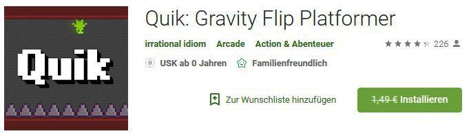 Quik: Gravity Flip Platformer (Android) gratis statt 1,49€