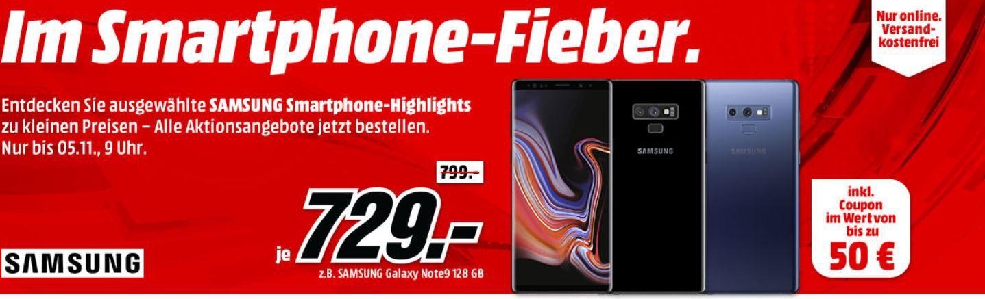 TOP! Media Markt Samsung Smartphonefieber + Gutscheine: z.B. SAMSUNG Galaxy Note9 128 GB  für 729€ (statt 725€) + 50€ Gutschein