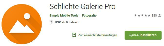 Simple Gallery Pro (Android) gratis statt 0,89€