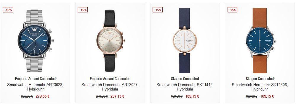 Galeria Kaufhof Dienstag Angebote: heute 15% auf ausgewählte Smartuhren   z.B.  Skagen Connected Smartwatch SKT5105 für 245,15€ (statt 279€)