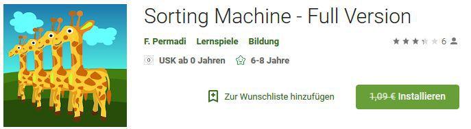 Sorting Machine (Android) gratis statt 1,09€