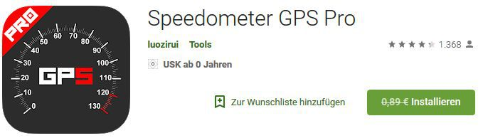 Speedometer GPS Pro (Android) gratis statt 0,89€