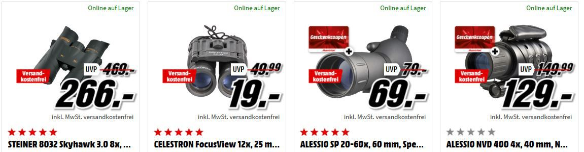 Media Markt Foto Late Night + Coupon Aktion:  günstiges Foto Zubehör und Ferngläser