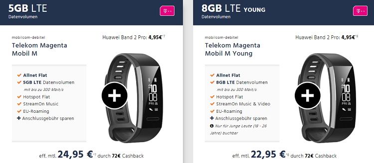 Huawei Band 2 Pro für 4,95€ + md Telekom Magenta Mobil M mit 5GB Volumen für 24,95€ mtl.   Young Vorteil möglich