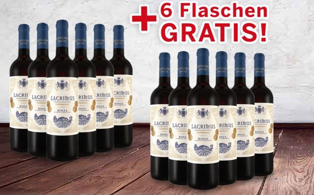 Top! Rioja Lacrimus von Javier Rodriguez 12 Fl. für 84,95€ oder 6 Fl. + 4 Spiegelau Rotwein Gläser  für 49,94€