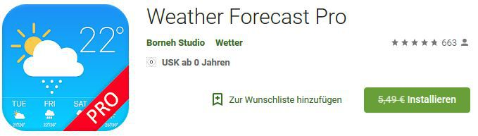 Weather Forecast Pro (Android) gratis statt 5,49€