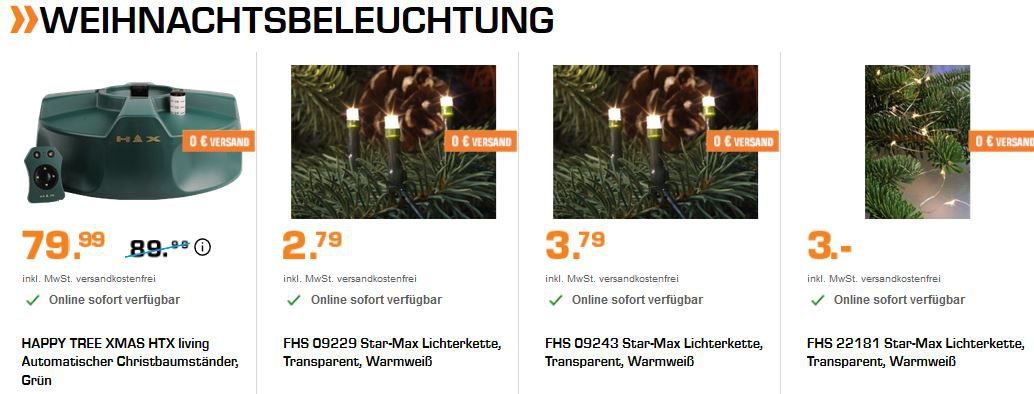Saturn Late Night Shopping mit Weihnachtsbeleuchtung