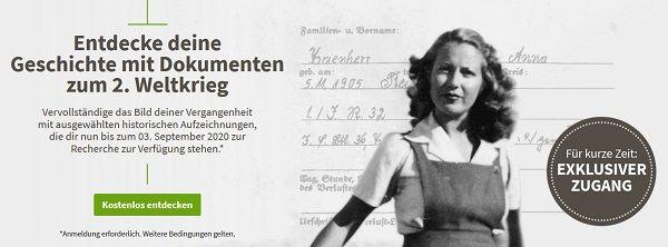 Ancestry: Gratis Zugang auf historische Aufzeichnungen zum 2. Weltkrieg
