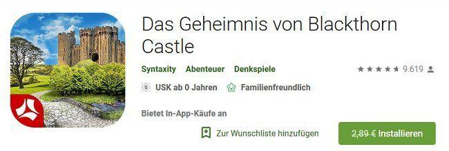 Android: Das Geheimnis von Blackthorn Castle kostenlos (statt 2,89€)