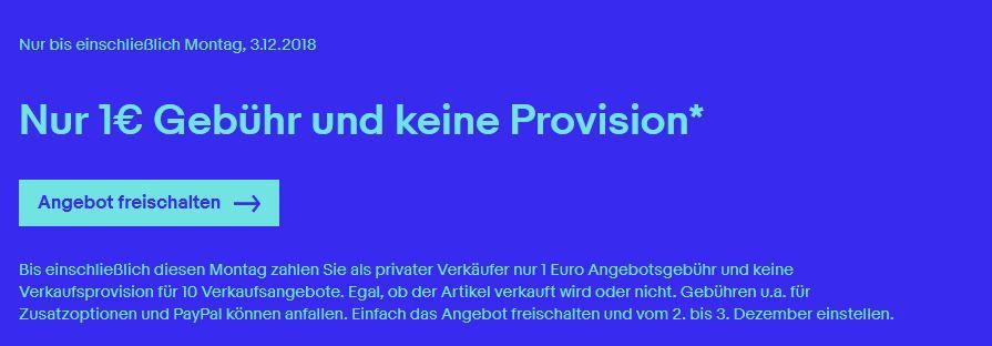 eBay Aktion: heute keine Verkaufsprovision + nur 1€ Gebühr bei eBay   gültig für 10 Angebote!