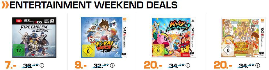Saturn Entertainment Weekend Deals: z.B. Fire Emblem Warriors   New Nintendo 3DS für 7€ (statt 20€)