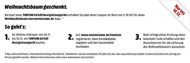 TOMTOM GO 620 PKW Navigationssystem Weltweit für 199,99€ + 39,99€ MeineTanne Gutschein