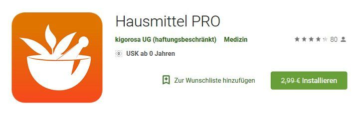Android: Hausmittel PRO gratis (statt für 2,99€)