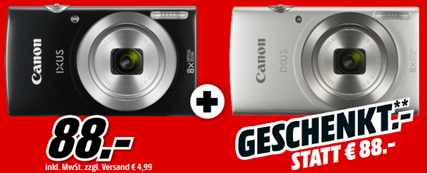 🔥 Knaller! Canon Ixus 185 Digitalkamera mit 20 Megapixel im Doppelpack ab 88€ (statt 156€)