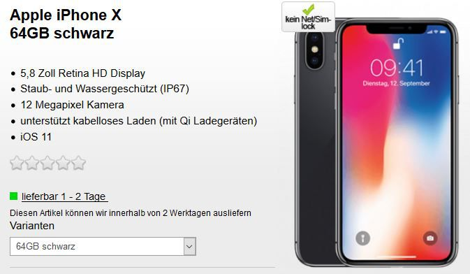 TOP! Apple iPhone X 64GB für 79€ + Telekom AllNet + SMS Flat + 10GB LTE (max. 300) für 45,20€ nur für Telekom Kunden