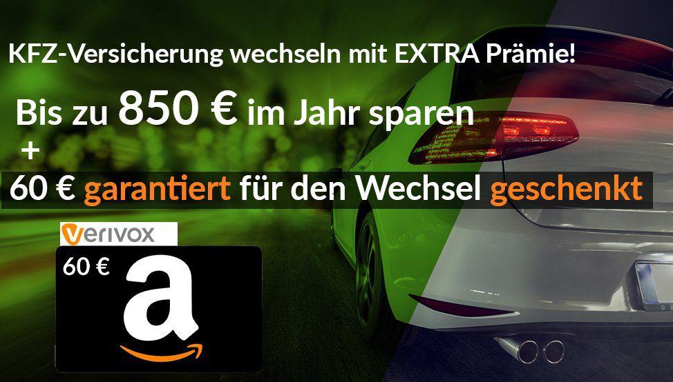 Kfz Versicherung über Verivox wechseln (bis zu 850€ im Jahr sparen) + gratis 60€ Amazon Gutschein