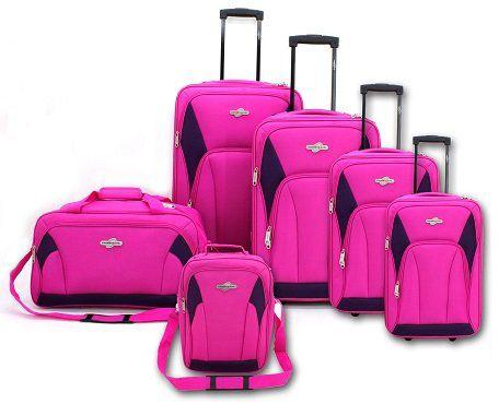 6teiliges Kofferset bestehend aus Reisetrolley und Reisetasche in rosa für 39,90€ (statt 80€)