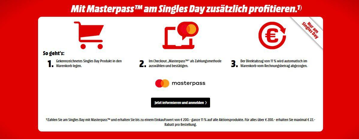 🔥 Singles Day 2018: Media Markt   11% dank Masterpass   Beste Deals Übersicht!