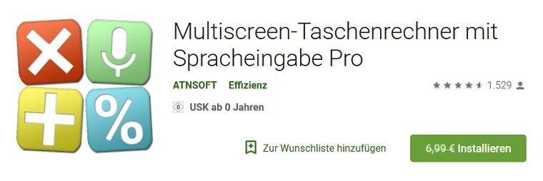 Android: Kostenloser (statt 6,99€) Multiscreen Taschenrechner mit Spracheingabe
