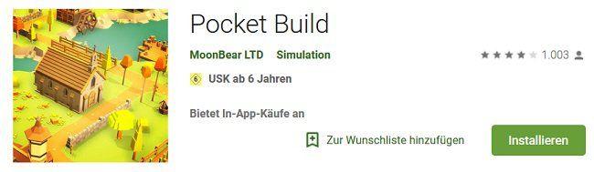 Pocket Build für Android kostenlos (statt 2,29€)