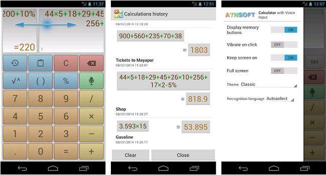 Kostenloser Multiscreen Taschenrechner mit Spracheingabe (Android)