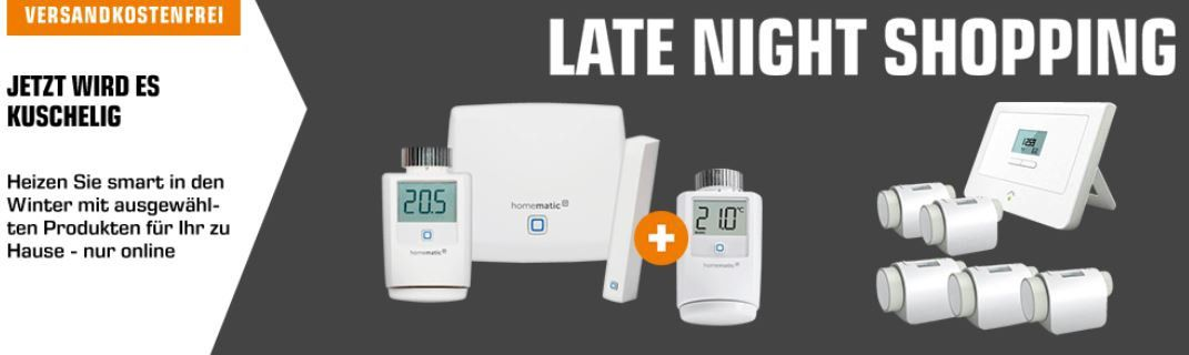 Saturn Late Night Smart Home Nacht: z.B. EQIVA  Heizkörperthermostat für 9€