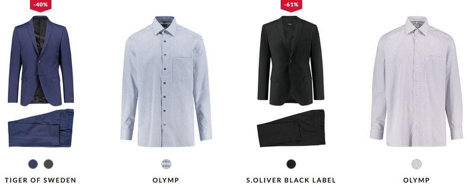 engelhorn mit 15% Rabatt auf festliche Fashion!   z.B. s.Oliver Herren Anzug Cosimo Slim Fit ab nur 79,99€ (statt 180€)