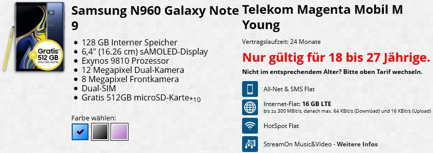 ?Knaller! Eff. GRATIS! Samsung Galaxy Note 9 (128GB) + 512GB SD + Dockingstation für 4,95€ + 16GB LTE & Telekom All Net