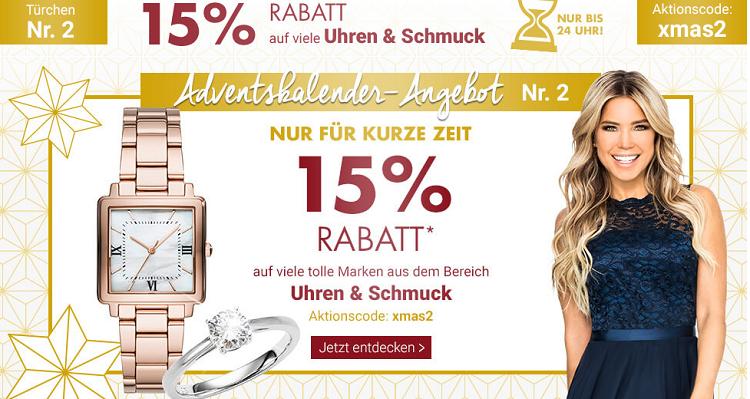 Karstadt Adventskracher mit 15% Rabatt auf Parfüm, Uhren, Schmuck oder Reisegepäck