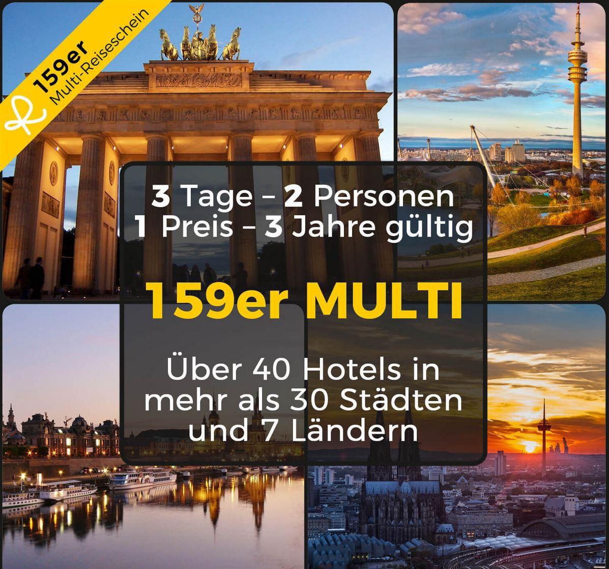 Last Minute Reisegutschein: 2 Personen 2 Übernachtungen in 40 Hotels in Europa für 159€