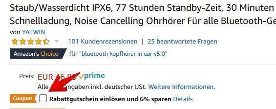 YATWIN Bluetooth 5.0 Kopfhörer mit Schnelladung, Noise Cancelling & mehr für 30,07€ (statt 47€)