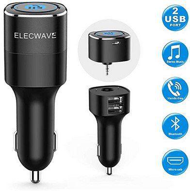 Elecwave USB Autoladegerät mit 2 Ports & Streamingfunktion für 13,94€   Prime
