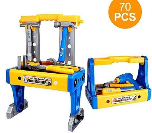 Vorbei! Werkbank für Kinder (ab 3 Jahre) mit 70 Teilen für 10,99€ (statt 22€)   bei Prime