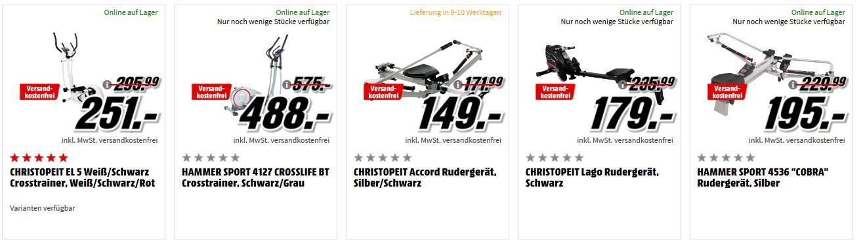 Media Markt Fitness Top Form mit Fitnesgeräten zum Top Preis   z.B. Hammer Sport Waterstream Rudergerät für 799€ (statt 999€)