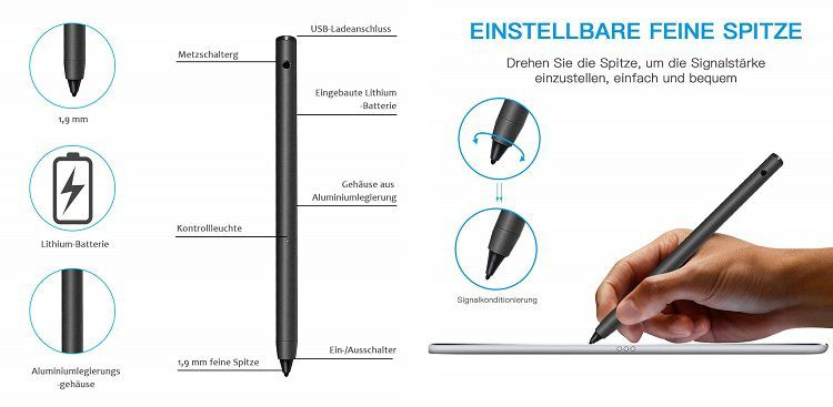 USCVIS Stylus Pen   Wiederaufladbarer Eingabestift für 19,24€ (statt 35€)