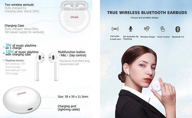 iDiskk Bluetooth Kopfhörer mit Ladebox für 27,99€ (statt 46€)
