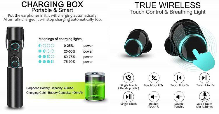 KeVis Bluetooth Kopfhörer mit Ladebox für 24,99€ (statt 50€)