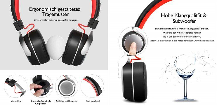OneAudio On Ear Bluetooth Kopfhörer A8 BK für 14,99€ (statt 30€)