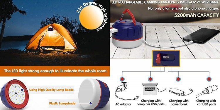 FOGEEK tragbare wiederaufladbare Campinglaterne für 13,48€ (statt 22€)