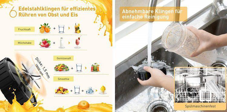 OMORC Standmixer mit 2 Trinkflaschen (900 ml, 500 ml) für 32,99€ (statt 53€)