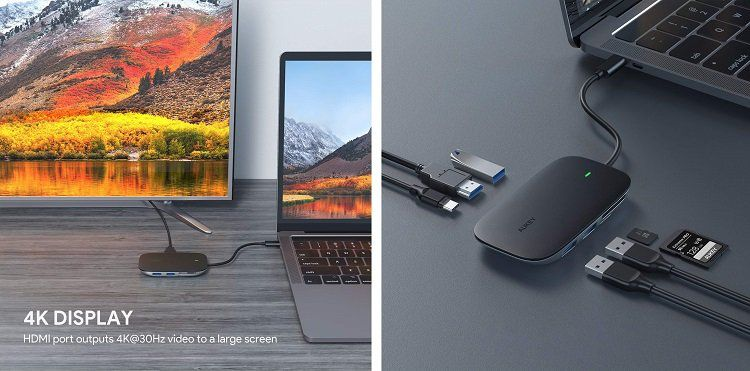 AUKEY USB C 7 in 1 Hub mit 3 USB Anschlüssen für 30,99€ (statt 50€)